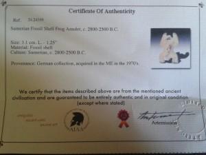 Frog certificate